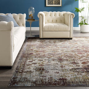 Success Kaede Distressed Vintage Floral Moroccan Trellis 8x10 Area Rug