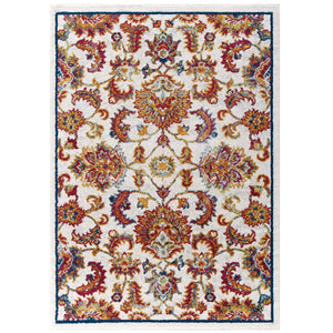 Entourage Azami Distressed Vintage Floral Lattice 5x8 Area Rug