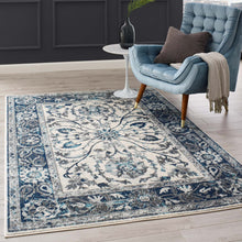 Load image into Gallery viewer, Entourage Samira Distressed Vintage Floral Persian Medallion 5x8 Area Rug