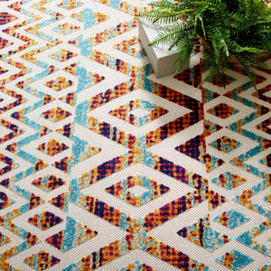 Reflect Tamako Diamond and Chevron Moroccan Trellis 8x10 Indoor / Outdoor Area Rug