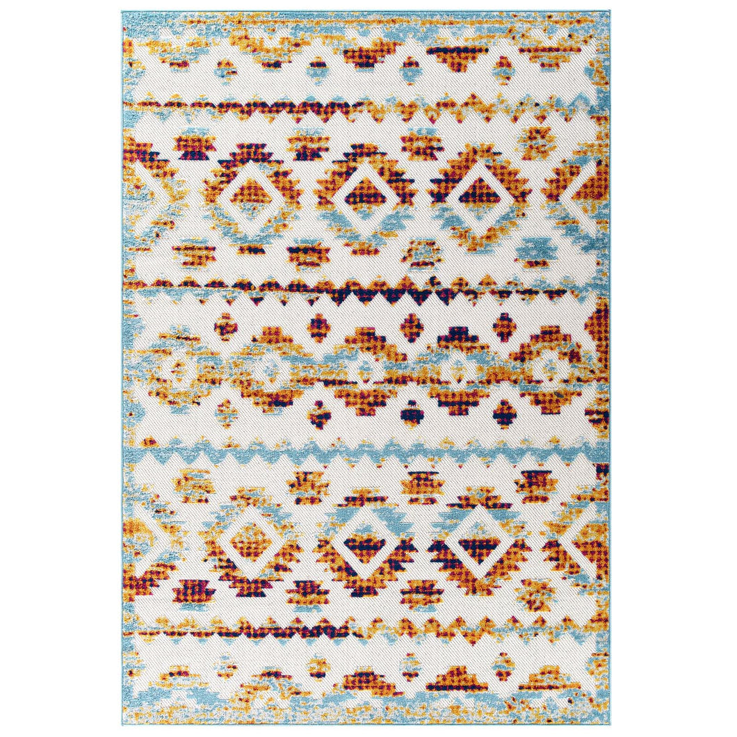 Reflect Takara Abstract Diamond Moroccan Trellis 5x8 Indoor and Outdoor Area Rug