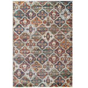 Tribute Azalea Distressed Vintage Floral Lattice 8x10 Area Rug