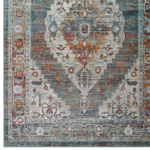 Tribute Camellia Distressed Vintage Floral Persian Medallion 5x8 Area Rug