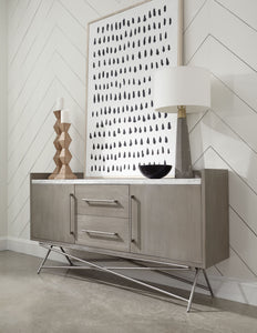 Coral Sideboard/Buffet - White Marble & Brushed Stainless Steel