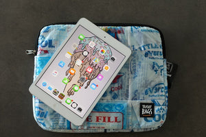 Tablet/iPad sleeve, eco friendly, waterproof and lined product.