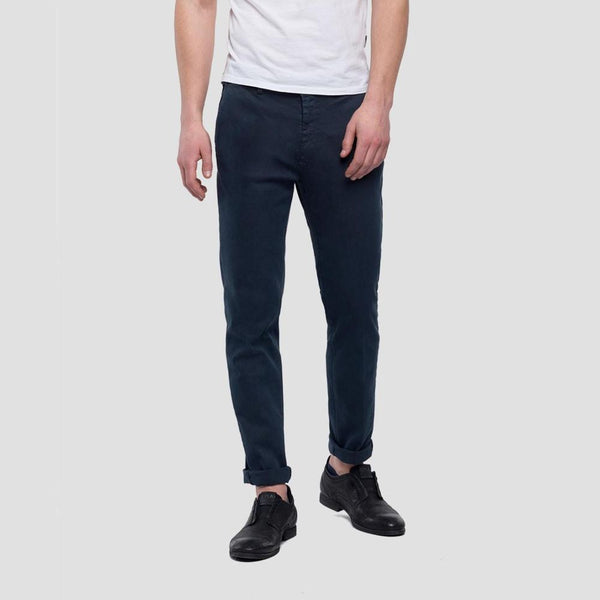 Replay Zeumar Navy Slim Fit Hyperflex Chinos M9627L.000.8166197