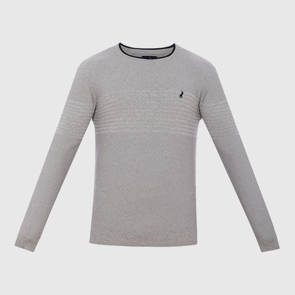 Polo-Crew Neck Rib Detail Knitted Pull Over-Knitwear-P1000406013A03