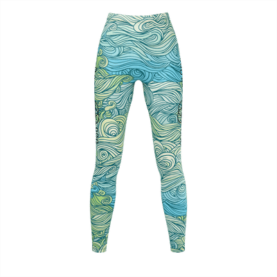 Green Wave Unalome recycled Leggings