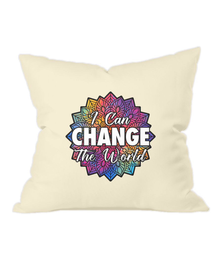 i Can Change The World - Natural Throw Cushion