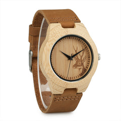 Classic Elk Design Women Bamboo Watch