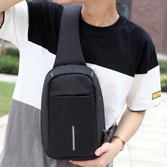 men Messenger Bags Rechargeable USB Anti-thief