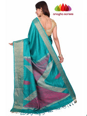 Pure Raw Silk Saree - Bluish Green : ANA_F74