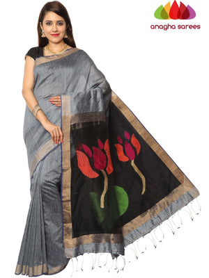 Handloom Pure Resham by Motka Saree - Grey : ANA_F21