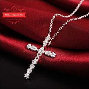 Women's Cross CZ Pendant Necklace - AlphaExpressPro