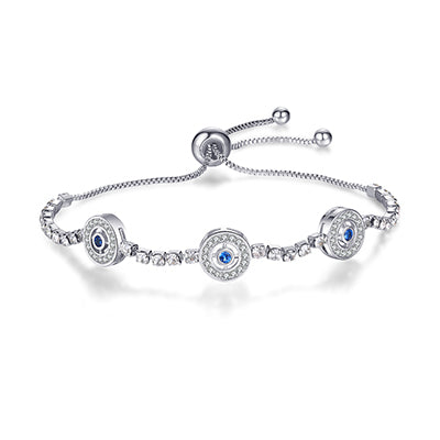 Silver Plated Blue Crystal CZ Eyes Bracelets For Women Wedding fashion Jewelry Charming Bracelet - AlphaExpressPro