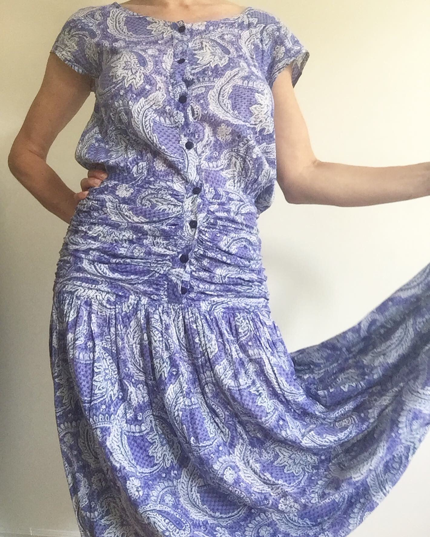 1980's Anokhi Indian Cotton Paisley Sun Dress. M
