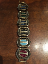 Load image into Gallery viewer, 1950's Carved Bronze Metal Buddhist Icons Bracelet