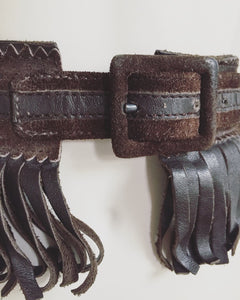 1970's Yves Saint Laurent Brown Leather Fringe Belt