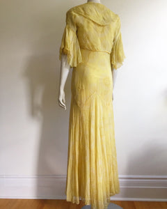 Beautiful 1930's Yellow Deco Floral  Dress set. XS/S