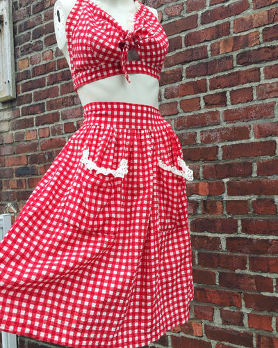1940's Seersucker Cotton Gingham Playsuit. S