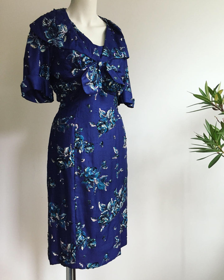 1950's Hardy Amies Silk Wiggle Dress Set