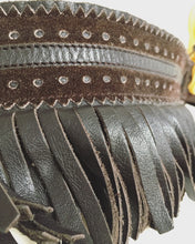 Load image into Gallery viewer, 1970's Yves Saint Laurent Brown Leather Fringe Belt