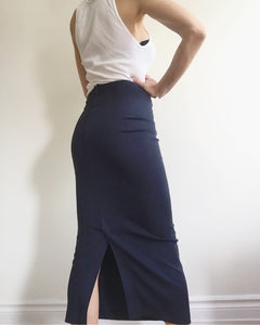COMME des GRACONS Vintage 1990s navy Jersey Tube Skirt. S
