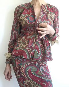1970s Vintage Chloé Silk Paisley 3 Piece Skirt and Blouse set. 0-2
