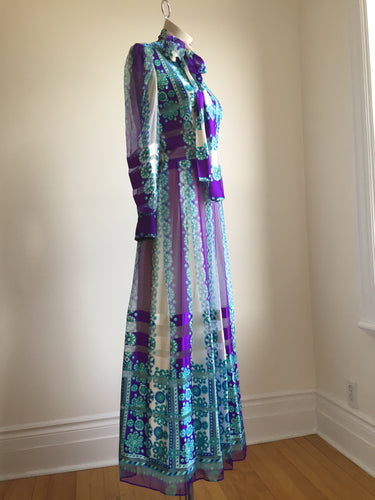 Absolutely Incredible Silk Couture 1970s Dress. S