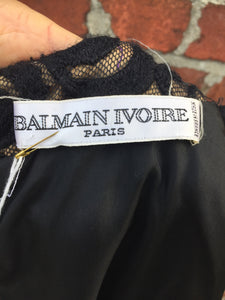 Balmain Ivoire black wool dress. Size 40
