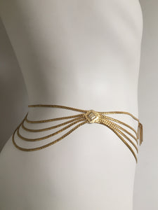 1980 Christian Dior Gold Tone Belly Chain/Belt/Necklace