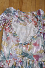 Load image into Gallery viewer, 1980's pastel watercolor Silk drop waist dress. size 4-8