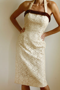 "<img  src=""vintage wiggle dress""  alt=""1950's vintage lace and fur off white sleeveless wiggle bridal dress"""