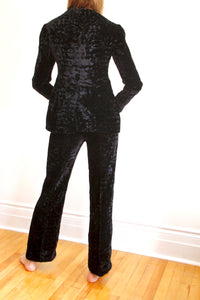 Early Yves St Laurent couture black velvet pant suit. size 4-6