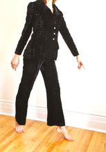 "Load image into Gallery viewer, <img  src=""vintage Yves St Laurent suit""  alt=""Vintage 1970's Yves St Laurent black velvet pant suit """