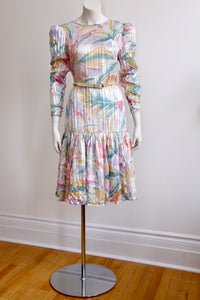 1980's pastel watercolor Silk drop waist dress. size 4-8