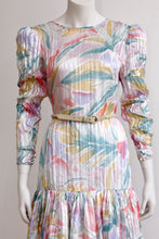 "Load image into Gallery viewer, <img  src=""Vintage dress""  alt=""1980's vintage silk pastel drop waist dress"""