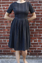 "Load image into Gallery viewer, <img  src=""vintage eyelet dress""  alt=""1950's vintage black cotton eyelet day dress"""