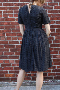 1960s Cotton Eyelet Dress. Size 2-4