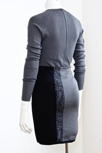 AZZEDINE ALAIA 1980s bodysuit plus mini skirt set. Iconic. Made in italy. Size 4.
