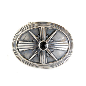 Silver Belt Buckle Oval MORNING STAR