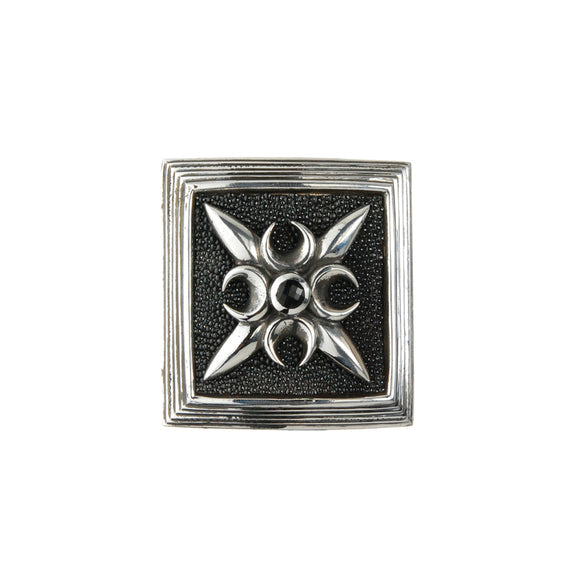 Silver Belt Buckle Caree CRESCENT STAR on Searay Leather