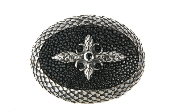 Silver Belt Buckle Oval Dragon Scales Stingray Leather and CrescentCross