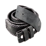 Belt Strap of NUBUK Leather with Braided Edges and Buttons 50 mm