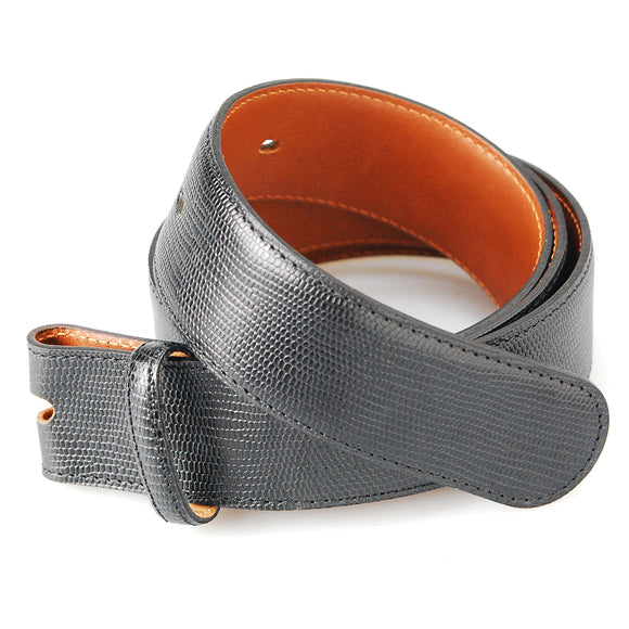 Belt Strap of Embossed Leather in Lizard with Buttons 35 mm
