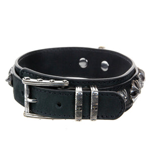 "Dogs Collar Silver Buckle ""Skull"" and ""Wings"""