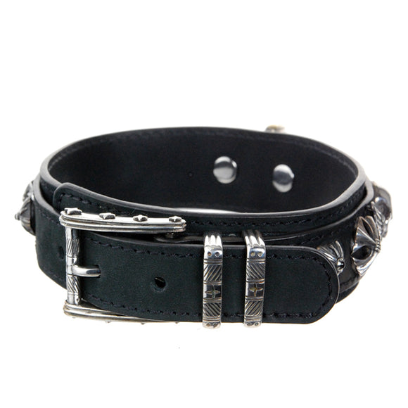 Dogs Collar Silver Buckle SKULL and WINGS