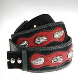 Beltstrap Nubuk and Red Searay with EAGLE SKULLS and Wings 50mm