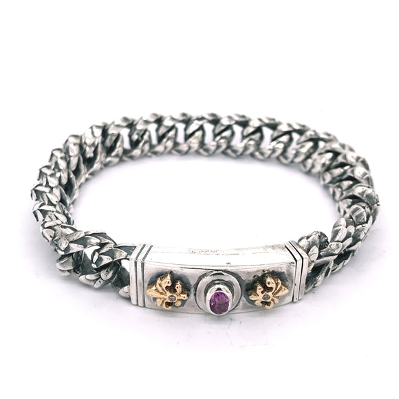 Silver Bracelet Oval RUBY with 18ct LILIES and DRAGON SCALES Chain