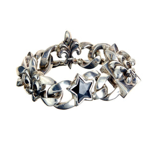 Silver Bracelet Stars and Lilies on Chain M